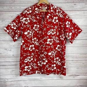 Hilo Hattie Red Floral Hawaiian Shirt